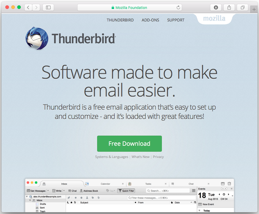 """The Mozilla Thunderbird website will have detected your preferred language.  If you want to use Thunderbird in another language click on the """"Systems ..."""
