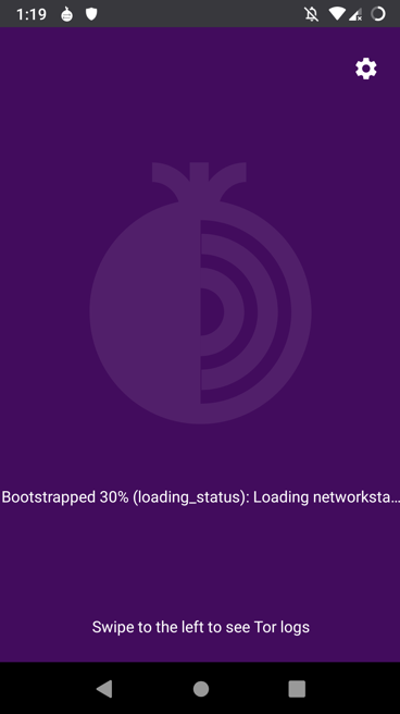 Tor for Android bootstrapping screenshot