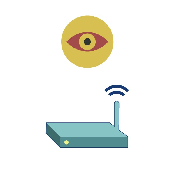An eye, watching traffic going in and out of a home network router.