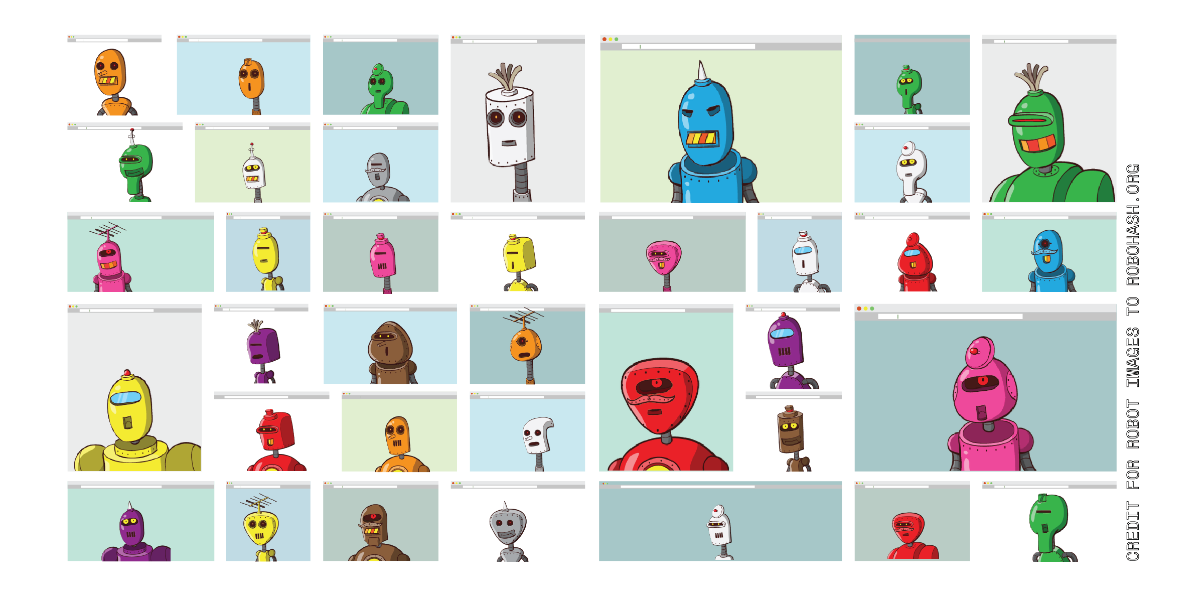 A grid of many different browser types with unique robots in each one.