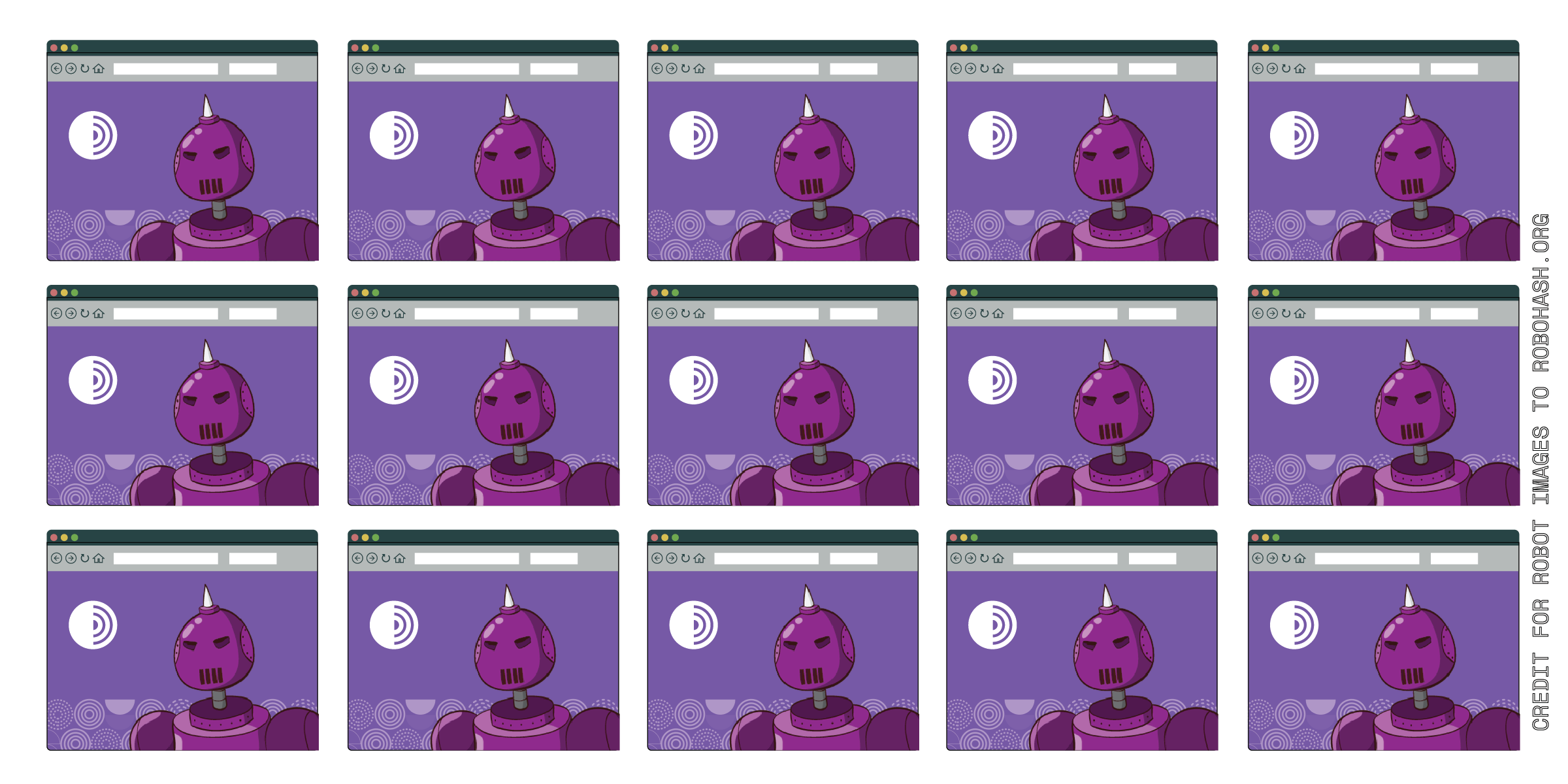 A three by five grid of Tor Browsers with purple robots that all look the same.