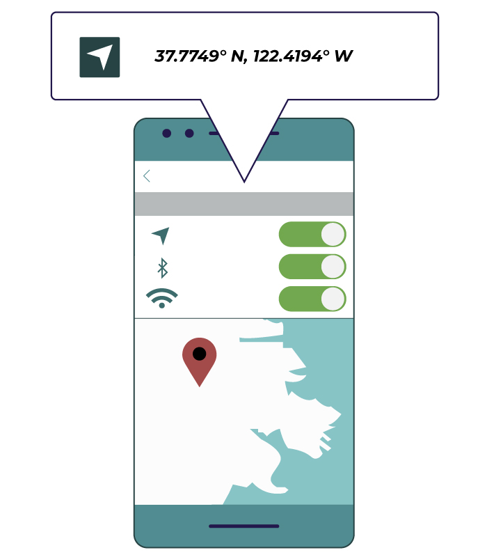 "A ""location services""-like settings menu on an illustrated phone."